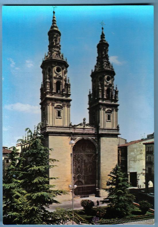CATEDRALES DE ESPAÑA. Nº 10 LOGROÑO . EDICIONES VISTABELLA - MADRID . PUBLICIDAD EN REVERSO (Postales - España - La Rioja Moderna (desde 1.940))