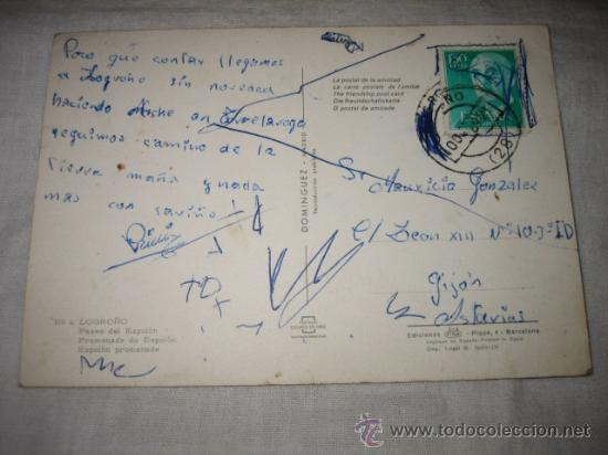 Postales: Nº 4 LOGROÑO PASEO DEL ESPOLON CIRCULADA EDICIONES DOMINGUEZ - Foto 2 - 17278510