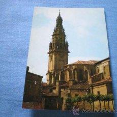 Postales: POSTAL SANTO DOMINGO DE LA CALZADA PLAZA ESPAÑA Y TORRE DE LA CATEDRAL NO CIRCULADA. Lote 17370845
