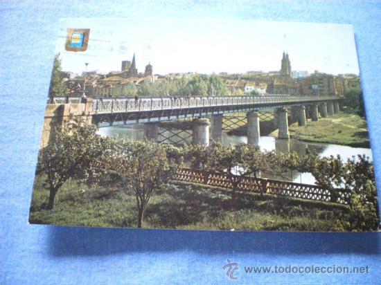 POSTAL LOGROÑO VISTA PARCIAL Y PUENTE HIERRO CIRCULADA (Postales - España - La Rioja Moderna (desde 1.940))