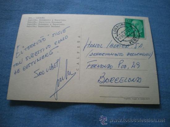 Postales: POSTAL LOGROÑO ESPOLON MONUMENTO A ESPARTERO CIRCULADA - Foto 2 - 17371120