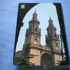Postales: POSTAL LOGROÑO TORRES GEMELAS DE LA CATEDRAL CIRCULADA. Lote 17371127