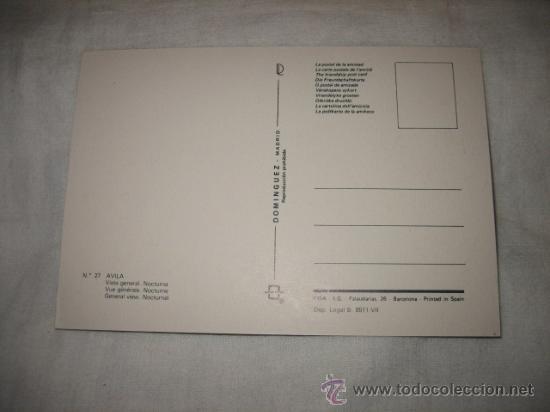 Postales: Nº 27 AVILA VISTA GENERAL NOCTURNA EDICIONES DOMINGUEZ - Foto 2 - 17398686