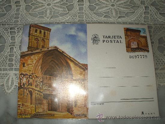 TARJETA POSTAL DE LOGROÑO IGLESIA DE SAN BARTOLOME ,CON SELLO IMPRESO DE 5 PESETAS (Postales - España - La Rioja Moderna (desde 1.940))