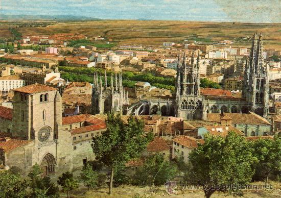 POSTAL SIN CIRCULAR DE BURGOS,CATEDRAL Y VISTA GENERAL. (Postales - España - La Rioja Moderna (desde 1.940))