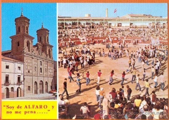 ALFARO - LA RIOJA - IGLESIA DE SAN FRANCISCO Y PLAZA DE TOROS Y PEÑAS - Nº 6 LIBRERIA VILLACIERVOS (Postales - España - La Rioja Moderna (desde 1.940))