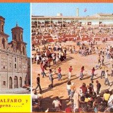 Postales: ALFARO - LA RIOJA - IGLESIA DE SAN FRANCISCO Y PLAZA DE TOROS Y PEÑAS - Nº 6 LIBRERIA VILLACIERVOS. Lote 27669803