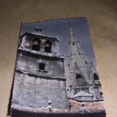 Postales: LOGROÑO 25 - SANTA MARIA DE PALACIO TORRE DE AGUJA EDC. SICILIA CIRCULADA ILUMINADA CON ANILINAS 14X. Lote 36661097