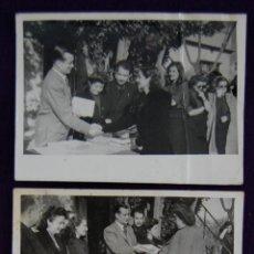 Postales: 3 FOTOS DE LA ENTREGA DE LIBROS A LA SECCION FEMENINA, POR PARTE DEL GOBERNADOR DE LOGROÑO. 1945. Lote 43931912