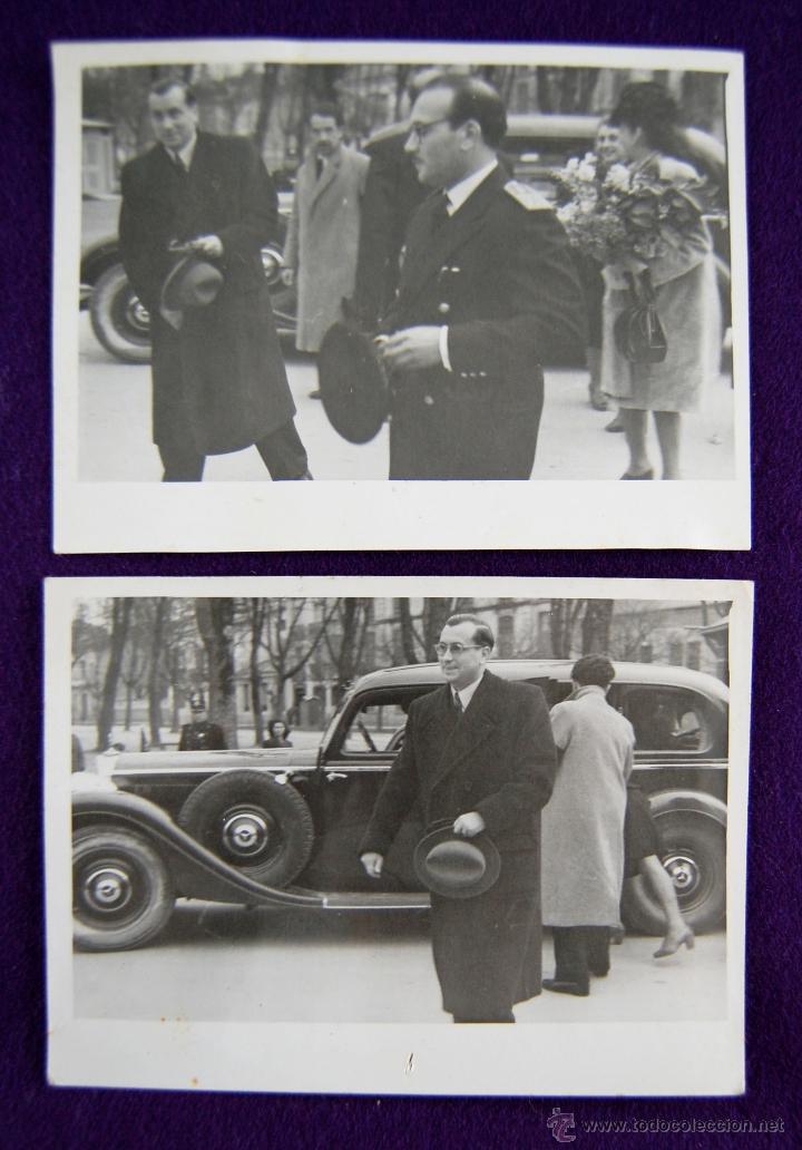 2 FOTOS DEL GOBERNADOR CIVIL DE LOGROÑO (CON SOMBRERO) ACUDIENDO A UN ACTO INSTITUCIONAL. 1945 (Postales - España - La Rioja Moderna (desde 1.940))