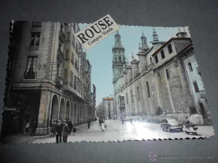 LOGROÑO - 32 GENERAL M Y SANTA MARIA DE LA REDONDA EDC. SICILIA ,POSTAL ILUMINADA CON ANILINAS CIRCU (Postales - España - La Rioja Moderna (desde 1.940))