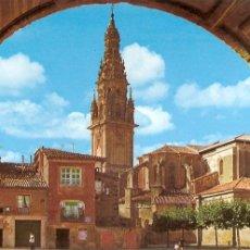 Postales: POSTAL, SANTO DOMINGO DE LA CALZADA-LOGROÑO, VISTA GENERAL Y TORRE CATEDRAL, SIN CIRCULAR. Lote 62068544