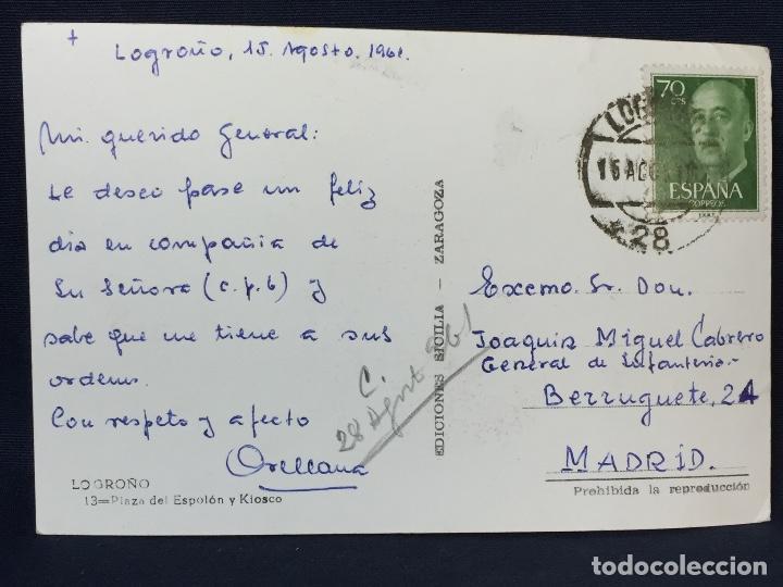 Postales: POSTAL logroño 13 plaza espolon y kiosco ed sicilia zaragoza 1961 - Foto 2 - 68016133