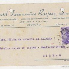 Postales: TARJETA POSTAL TEXTIL FARMACEUTICA RIOJANA. LOGROÑO. AÑO 1940. Lote 70480485