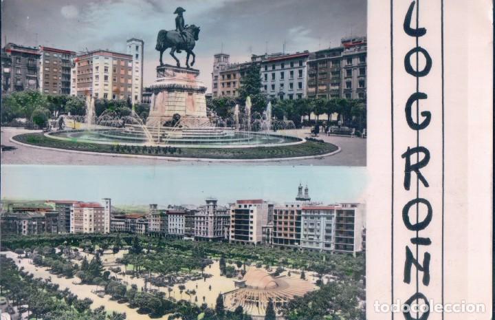 POSTAL LOGROÑO - MONUMENTO A ESPARTERO Y FUENTE VISTA GENERAL DE EL ESPOLON - CIRCULADA (Postales - España - La Rioja Moderna (desde 1.940))