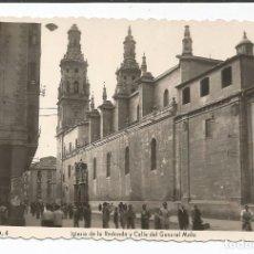Postales: LOGROÑO - IGLESIA DE LA REDONDA Y CALLE DEL GENERAL MOLA - Nº 4 ED. ARRIBAS. Lote 88824532
