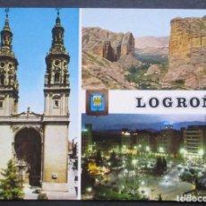Postales: LOGROÑO -CATEDRAL. VALLE DEL IREGUA. PASEO DEL ESPOLÓN- SIN CIRCULAR / P-1113. Lote 103718427