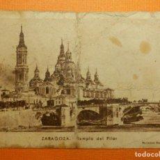 Postales: MINI POSTAL - ZARAGOZA TEMPLO DEL PLLAR - RECLAMOS GAVIN - 6 X 8,5 CM. - CONTROL PESO - AÑOS 40. Lote 105776043