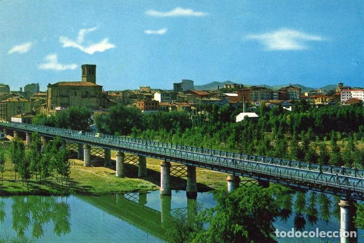 LOGROÑO VISTA PARCIAL Y PUENTE DE HIERRO AÑO 1970 (Postales - España - La Rioja Moderna (desde 1.940))
