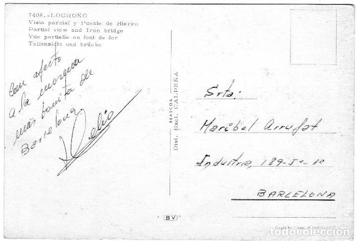 Postales: LOGROÑO VISTA PARCIAL Y PUENTE DE HIERRO AÑO 1970 - Foto 2 - 111282311