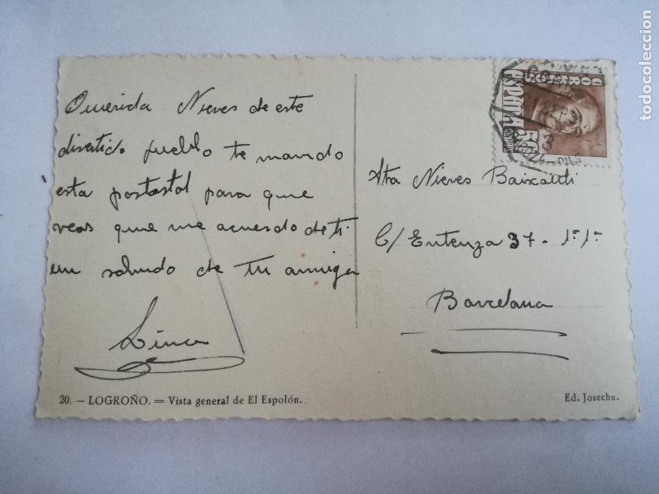 Postales: POSTAL FOTOGRAFICA DE LOGROÑO - VISTA GENERAL DEL ESPOLÓN - Nº 20 ED. JOSECHU - CIRCULADA AÑOS 50 - Foto 2 - 112954547