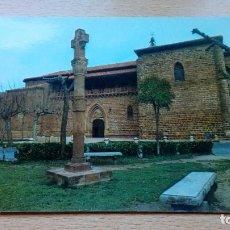 Postales: POSTAL ANTIGUA DE EZCARAY LA RIOJA IGLESIA PARROQUIAL Y CRUZ DE PIEDRA CIRCULADA . Lote 142911102