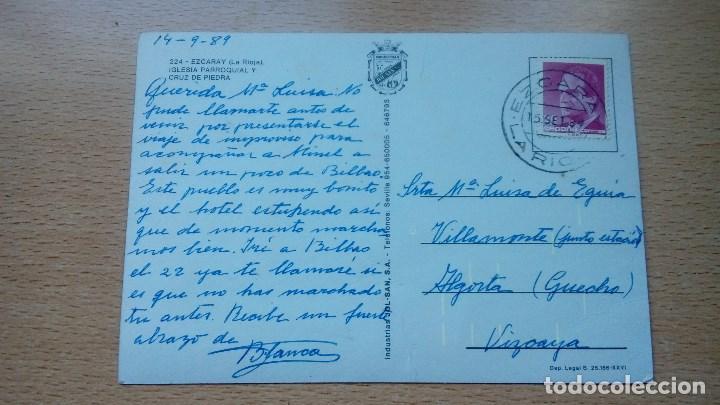 Postales: POSTAL ANTIGUA DE EZCARAY LA RIOJA IGLESIA PARROQUIAL Y CRUZ DE PIEDRA CIRCULADA - Foto 2 - 142911102