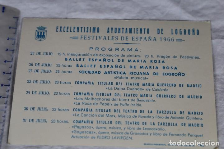 Postales: LOGROÑO VER IMAGEN DEL REVERSO: PROGRAMA AYUNTAMIENTO LOGROÑO FESTIVALES DE ESPAÑA1966- SIN CIRCULAR - Foto 2 - 157127394