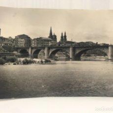 Postales: LOGROÑO FOTOGRAFICA PUENTE DE PIEDRA Y VISTA PARCIAL EDICIONES SICILIA. Lote 177084234