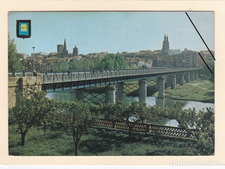 Postales: POSTAL VISTA PARCIAL Y PUENTE DE HIERRO. LOGROÑO (1971) - Foto 2 - 181149731
