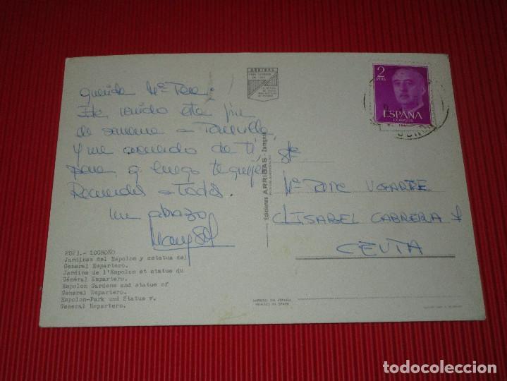 Postales: LOGROÑO - JARDINES DEL ESPOLON Y ESTATUA DEL GENERAL ESPARTERO - 2023 - ESCRITA Y CIRCULADA - Foto 2 - 189211911