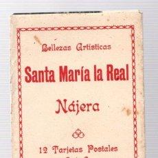 Postales: BELLEZAS ARTISTICAS SANTA MARIA LA REAL. NAJERA. 12 TARJETAS POSTALES. SERIE A. EN ESTUCHE DE CARTON. Lote 207484395