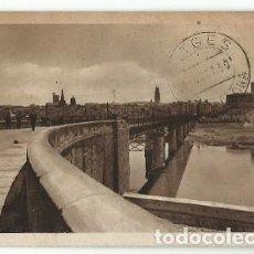 Postais: ANTIGUA POSTAL LOGROÑO PUENTE DE HIERRO EXCLUSIVAS L C 1950. Lote 220836860