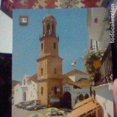 Postales: COMPETA MALAGA IGLESIA ASVNCION ED ESC ORO Nº 2 SC ANIMADA TERRAZA BAR TOLDO COCHES CLASICOS. Lote 237393690