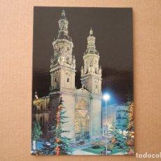 Postales: LOGROÑO. CATEDRAL SANTA MARIA DE LA REDONDA, DE NOCHE ED. CAPEÑA N. 7412. Lote 255515425