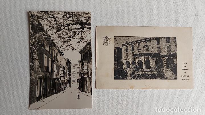 R-45.- LOTE DE -- 2 -- POSTALES DE -- ALFARO -- ( LOGROÑO ) PLAZA DE ESPAÑA Y C/ OCTAVIO DE TOLEDO (Postales - España - La Rioja Moderna (desde 1.940))