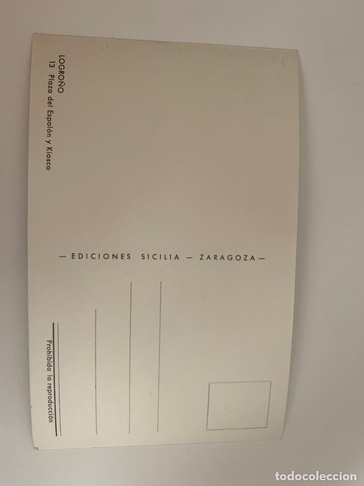 Postales: LOGROÑO - PLAZA DEL ESPOLÓN Y KIOSCO - Nº 13 ED. SICILIA - Foto 2 - 270235183