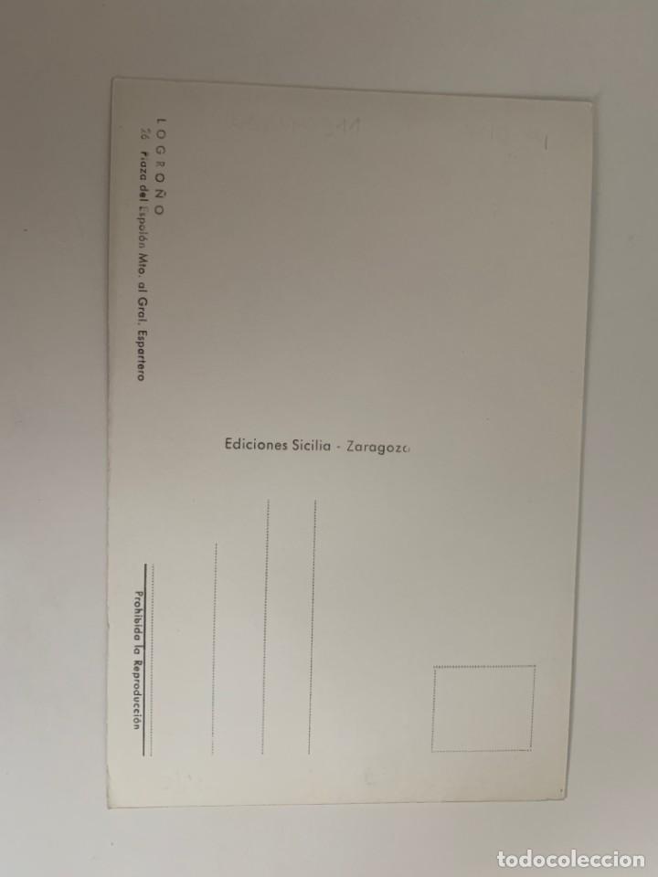 Postales: LOGROÑO - PLAZA DEL ESPOLÓN. MTO AL GENERAL ESPARTERO - Nº 26 ED. SICILIA - Foto 2 - 270359903