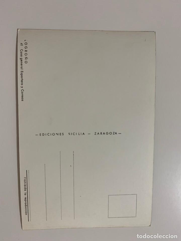 Postales: LOGROÑO - CASA GENERAL ESPARTERO Y CORREOS - Nº 41 ED. SICILIA - Foto 2 - 270595218