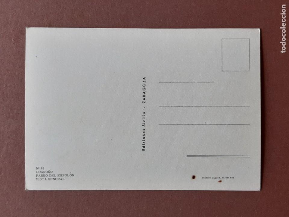 Postales: POSTAL 18 SICILIA. PASEO DEL ESPOLÓN. LOGROÑO. LA RIOJA. 1973. NO CIRCULADA. - Foto 2 - 278619753