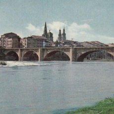 Cartoline: LOGROÑO, RIO EBRO Y PUENTE DE PIEDRA. ED. FOTOCOLOR Nº 3. AÑO 1960. Lote 283076088