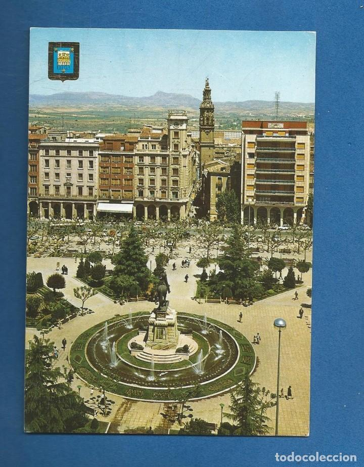 POSTAL CIRCULADA LOGROÑO 2 PLAZA DEL ESPOLON EDITA ESCUDO DE ORO (Postales - España - La Rioja Moderna (desde 1.940))