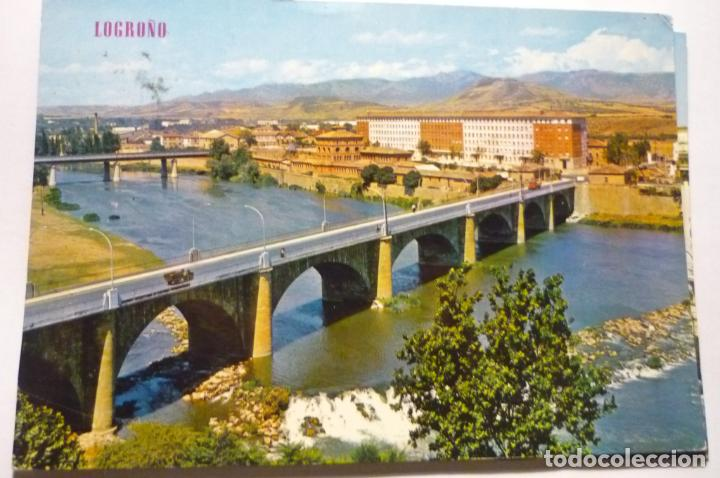 POSTAL LOGROÑO .PUENTE SOBRE RIO EBRO .-CIRCULADA (Postales - España - La Rioja Moderna (desde 1.940))