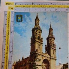 Postales: POSTAL DE LA RIOJA. AÑO 1973. LOGROÑO CATEDRAL SANTA MARÍA REDONDA. 32 ESCUDO ORO. SEAT 600. 1067. Lote 290031488