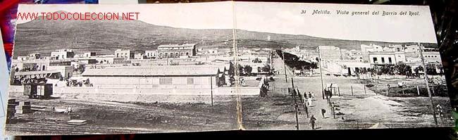 ANTIGUA POSTAL DOBLE DE MELILLA - BARRIO DEL REAL (Postales - España - Melilla Antigua (hasta 1939))