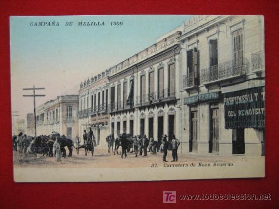 CAMPAÑA DE MELILLA, AÑO 1909, CARRETERA DE BUEN ACUERDO TP1978 (Postales - España - Melilla Antigua (hasta 1939))
