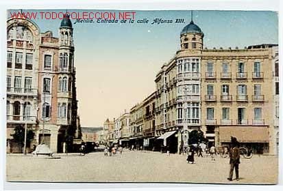 MELILLA. ENTRADA DE LA CALLE ALFONSO XIII. EDICIÓN BOIX HERMANOS. SIN CIRCULAR (Postales - España - Melilla Antigua (hasta 1939))