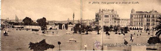 MUY INTERESANTE POSTAL-DOBLE- DE MELILLA-PANORAMICA DE LA PLAZA ESPAÑA (Postales - España - Melilla Antigua (hasta 1939))