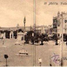 Postales: MUY INTERESANTE POSTAL-DOBLE- DE MELILLA-PANORAMICA DE LA PLAZA ESPAÑA. Lote 14669283