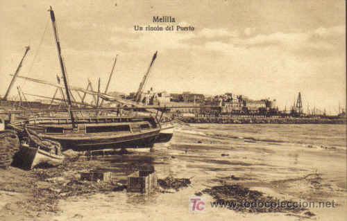 TARJETA POSTAL DE MELILLA. UN RINCON DEL PUERTO. EDICION M. V. POSTAL EXPRES, MELILLA. (Postales - España - Melilla Antigua (hasta 1939))